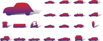 Grote vastgestelde pictogrammen - 14A. Auto's Stock Foto's