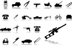 Grote vastgestelde pictogrammen - 15. Machines en technologieën Stock Foto's