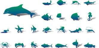 Grote vastgestelde pictogrammen - 20A. Vissen Stock Foto
