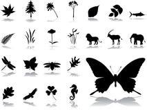 Grote vastgestelde pictogrammen - 5. Aard Stock Foto's