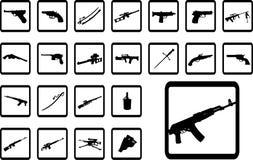 Grote vastgestelde pictogrammen - 9B. Wapen Stock Foto