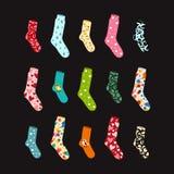 Grote vastgestelde sokken voor alle gelegenheden en voorraad op zwarte royalty-vrije illustratie
