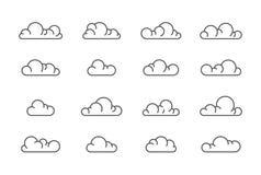Grote vector de lijnreeks van wolkenpictogrammen royalty-vrije stock fotografie