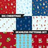 Grote vector geplaatste Kerstmis naadloze patronen Royalty-vrije Stock Afbeeldingen