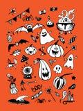 Grote vectorinzameling van Halloween-elementen, met inbegrip van pompoenen, paddestoelen, snoepjes, schedels, knuppels, vergift,  vector illustratie