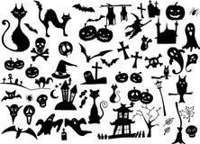 Grote vectorinzameling van Halloween silhouetten Stock Afbeeldingen