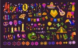 Grote vectorreeks de elementen, de symbolen & dieren van Mexico in vlakke hand getrokken die stijl op donkere achtergrond wordt g vector illustratie