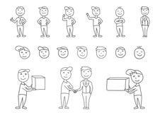 Grote vectorreeks hand-drawn mensenkarakters Stock Afbeeldingen