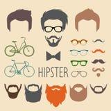 Grote vectorreeks van kleding op aannemer met verschillende mensen hipster kapsels, glazen, baard, snor, fietsen in tflatstijl vector illustratie