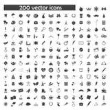 Grote vectorreeks van 200 objecten pictogrammen Stock Fotografie