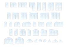 Grote vectorreeks verschillende typesvensters en deuren Royalty-vrije Stock Foto