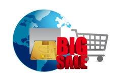 Grote verkoop creditcard en boodschappenwagentjezaken Stock Foto's