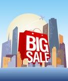 Grote verkoop het winkelen zak in stad. stock illustratie
