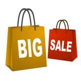 Grote verkoop het winkelen zakken Stock Afbeeldingen
