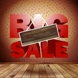Grote verkoop met houten achtergrond voor exemplaarruimte. Stock Foto