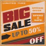 Grote Verkoop Retro Banner met Grote Doopvont Stock Foto