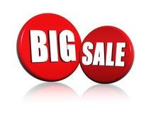 Grote verkoop in rode cirkels Royalty-vrije Stock Afbeelding