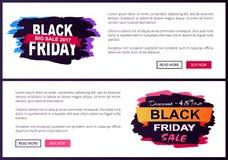 Grote Verkoop 2017 van Black Friday Promo-de Informatie van Webaffiches Stock Fotografie