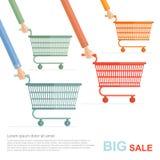 Grote verkoop vlakke illustratie het rennen op het winkelen geperforeerde geïsoleerde karren Royalty-vrije Stock Afbeeldingen