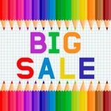Grote verkoop voor school Ontwerp een vlieger of een banner met bureausupplement royalty-vrije illustratie