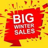 Grote verkoopaffiche met de GROTE teksten van de de WINTERverkoop Adverterende vectorbanner Royalty-vrije Stock Afbeeldingen