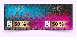 Grote verkoopbanner met kleurrijke achtergrond stock afbeeldingen