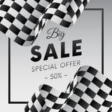 Grote verkoopbanner of sticker Speciale aanbieding Vijftig percenten weg Geruite vlag Vector illustratie vector illustratie