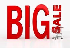 Grote verkoopbrieven in boodschappenwagentje op witte achtergrond Royalty-vrije Stock Fotografie