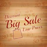 Grote verkoopillustratie op een houten achtergrond Royalty-vrije Stock Afbeeldingen