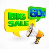 Grote Verkoopinschrijving megafoon Stock Afbeeldingen
