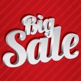 Grote verkoopmarkering (vector). Zilveren 3d sticker. Pictogram. Royalty-vrije Stock Foto