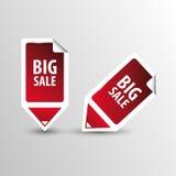 Grote verkoopmarkeringen Tekst op vierkante stickermarkeringen met pijl Vector Royalty-vrije Stock Foto's
