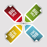 Grote verkoopmarkeringen Tekst op vierkante stickermarkeringen met pijl Vector Royalty-vrije Stock Fotografie