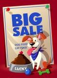 Grote verkoopvlieger, banner of malplaatje met korting voor Dierenwinkel Stock Foto's
