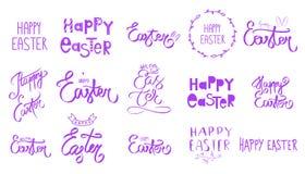 Grote violette purpere Pasen-reeks r De lentestijl r Hand getrokken letteri vector illustratie
