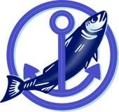 Grote vissen met anker royalty-vrije illustratie