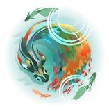 Grote vissen met een lange multicolored staart royalty-vrije illustratie