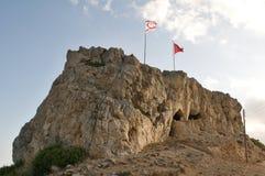 Grote Vlaggen van Noord-Cyprus en Turkije Royalty-vrije Stock Foto's
