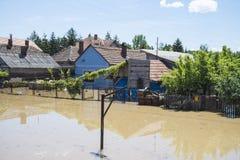 Grote vloed die huizen, gebieden, bossen omvatte stock foto