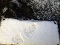 grote voetafdruk in steenplak Stock Afbeeldingen