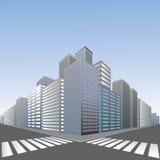 Grote voetgangersoversteekplaats in stad Stock Foto