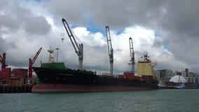 Grote vrachtschip het leegmaken containers in Havens van Auckland Nieuw Zeeland stock video