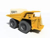 Grote vrachtwagen die spam vervoert Stock Afbeeldingen