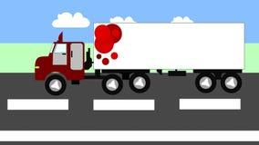 Grote vrachtwagen die zich op de weg, animatie bewegen, vector illustratie