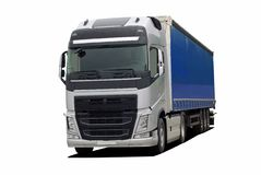 Grote vrachtwagen met semi aanhangwagen royalty-vrije illustratie