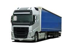 Grote vrachtwagen met semi aanhangwagen stock foto's