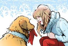 Grote vriendschap tussen dieren en een mens royalty-vrije illustratie