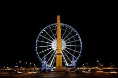 Grote wiel en obelisk DE La Concorde Stock Afbeelding