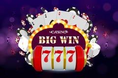 Grote winst 777 concept van het loterij het vectorcasino met gokautomaat, het spelen spaanders Winstpot in Spelgokautomaat vector illustratie