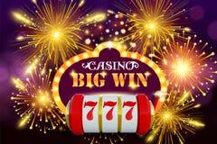 Grote winst 777 concept van het loterij het vectorcasino met gokautomaat Winstpot in de illustratie van de spelgokautomaat casino vector illustratie